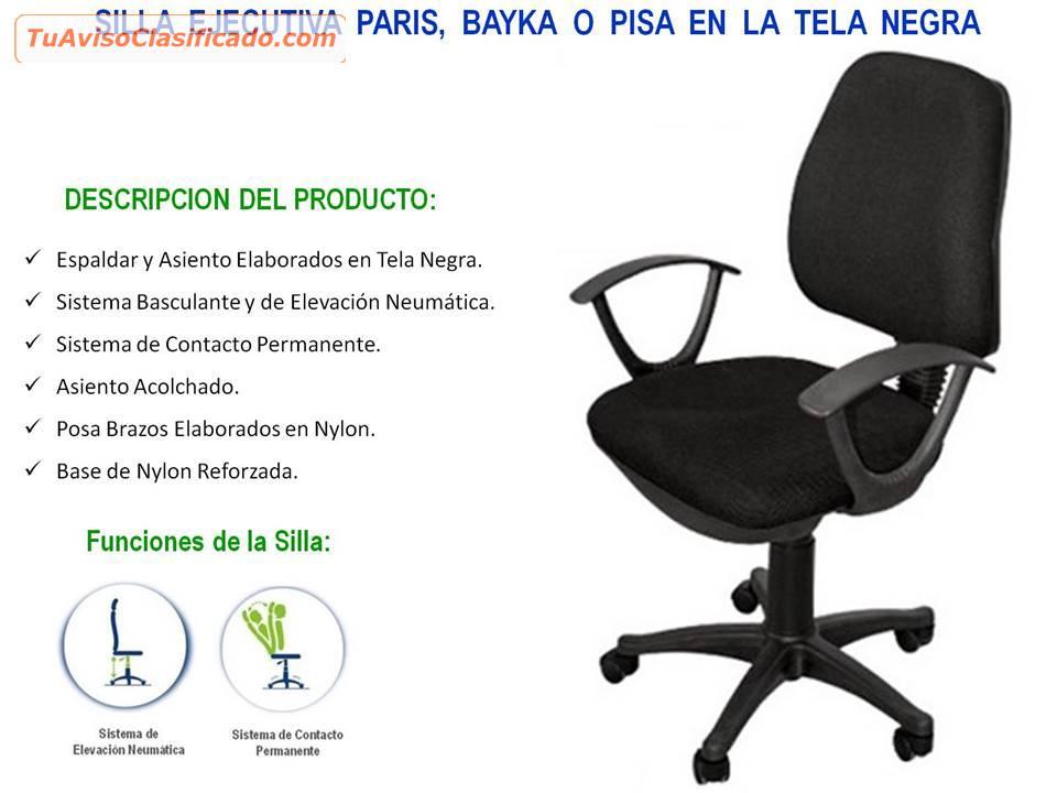 Tela Empresas En E O Silla Ind Pisa Negra Ejecutiva ParisBayka DE9YIHW2