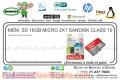 MEM. SD 16GB MICRO 2X1 SANDISK CLASS 10