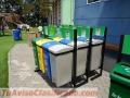 Punto de reciclaje 3 basureros para reciclaje