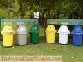Punto de reciclaje con 4 basureros capacidad 121 litros