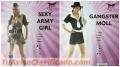 Sexy army and gunsters adult costumes