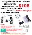 RECEPTOR USB DE AUDIO BLUETOOTH MODELO RECARGABLE