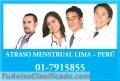 Solución Inmediata 7915855 atraso menstrual chorrillos Lima