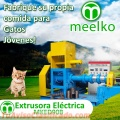 Extrusoras Meelko para hacer croquetas para alimentación de perros y gatos 350kg/h.
