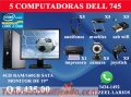 5 COMPUTADORAS DELL CAFE INTERNET (AUDIFONOS, MUEBLES, USB WIFI, CAMARAS, JOYSTICK,)
