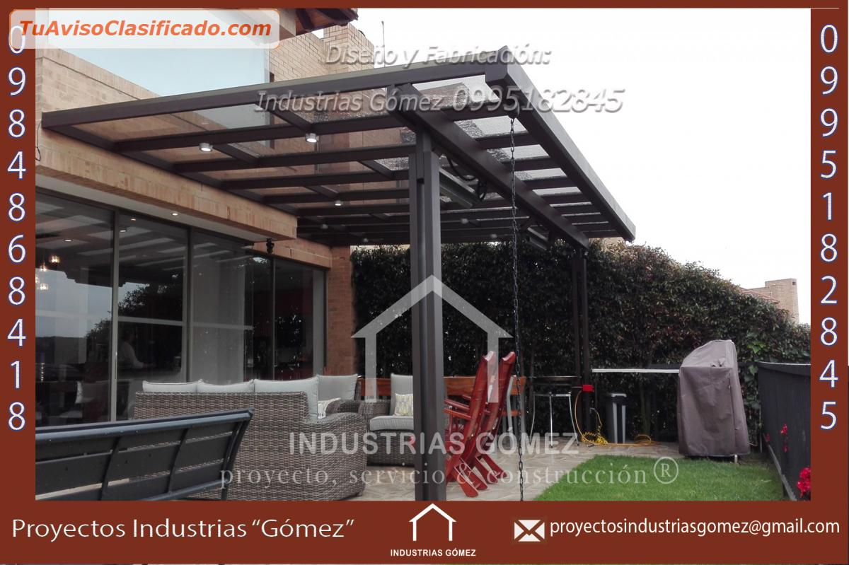 P rgola de estructura met lica madera policarbonato - Precio estructura metalica ...