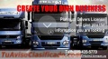 License opportunity, school of professional drivers trucks and trailers