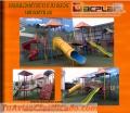 Servicios de construcción de juegos infantiles, baños portátiles y otros fabricantes