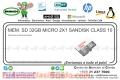 MEM. SD 32GB MICRO 2X1 SANDISK CLASS 10