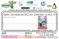 MEM. SD 64GB MICRO 2X1 SANDISK CLASS 10