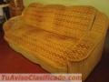Combo de Mueble Tapizado para Sala Grande+ Mesa de Caoba con patas de Hierro Reforzado