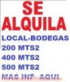 LOCALES- BODEGA  DE  200 MTS2 , 400 MTS2 Y  500 MTS2  EN ALQUILER