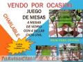 VENDO DE OCASION JUEGO DE 4 MESAS DE VIDRIO CON SILLAS